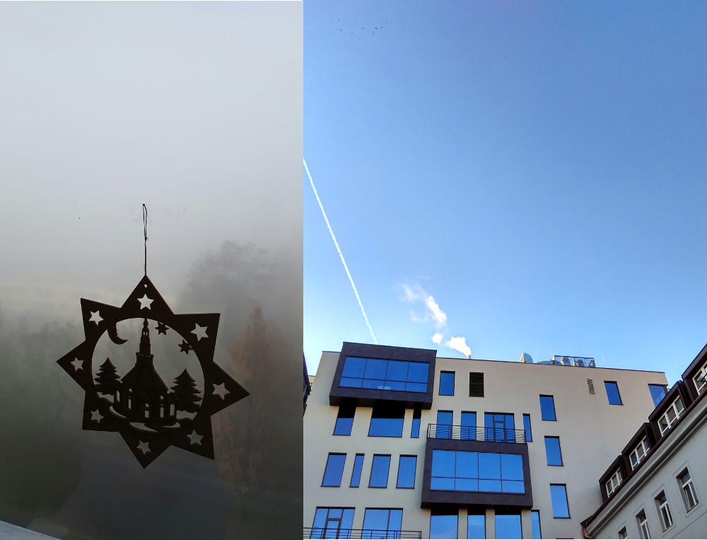 Mlha v Modřanech, slunce v Karlíně